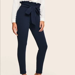 Shein Belted Paperbag Navy Dress Pants Tie Up